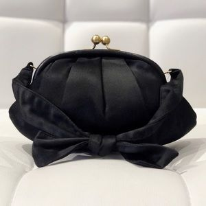 Authentic Chanel black satin evening bag